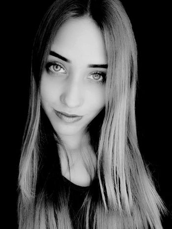 Pretty Girl Hello Big Eyes Black And White
