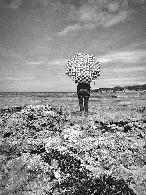 Girl on wait in black and white Black And White Back Pose Waiting Seashore Philippines Asus Photography PhonePhotography Outdoor Photography Sunnyday Umbrella Sky Sky And Clouds Live For The Story BYOPaper! The Street Photographer - 2017 EyeEm Awards The Portraitist - 2017 EyeEm Awards The Great Outdoors - 2017 EyeEm Awards The Week On EyeEm Been There. Done That. Black And White Friday Be. Ready.