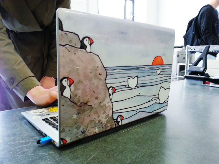 Lost At Sea Puffins Laptop Art