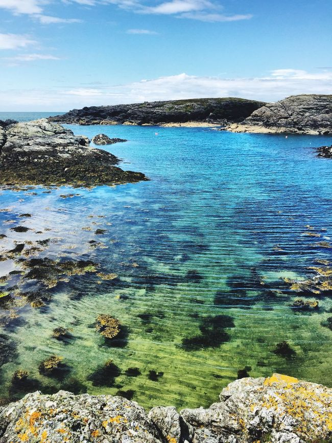 Sea Sea And Sky Seaside Water Blue Blue Sky Clear Water Seethrough Sand Rocks Sealife Cliffs Wales Angelsey United Kingdom