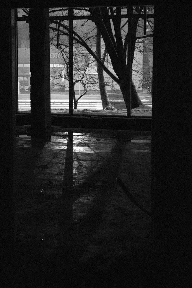 Abandoned Abandoned Buildings Abandoned Places Bare Tree Black And White Black And White Collection  Black And White Photography Branch Dark Deterioration Indoors  No People Outline Snow Solitude Tranquil Scene Tranquility Tree Tree Trunk Window Winter