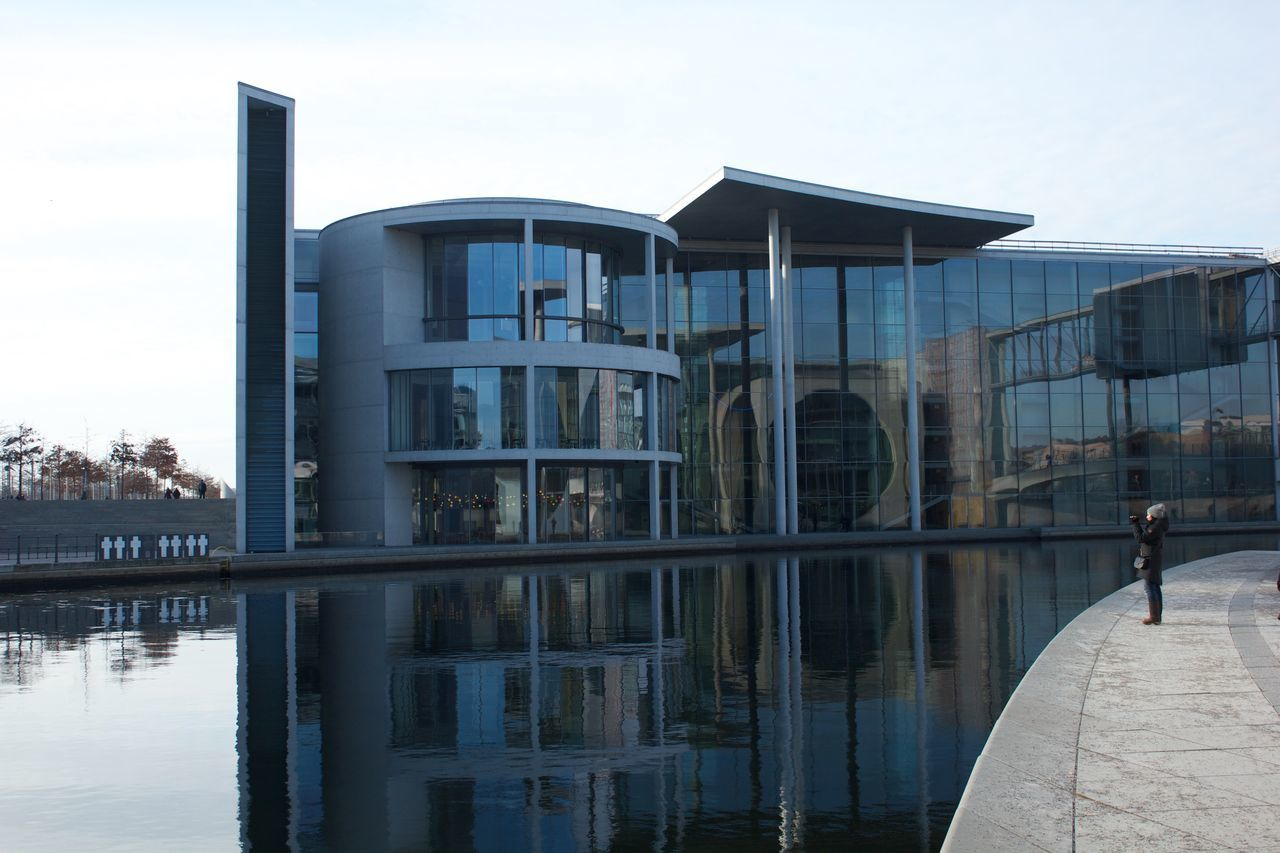 Architecture Building Exterior Built Structure City Day Kanzleramt Kanzleramt Berlin Lake Modern Nature No People Outdoors Power Reflection Sky Tranquility Travel Destinations Water Waterfront