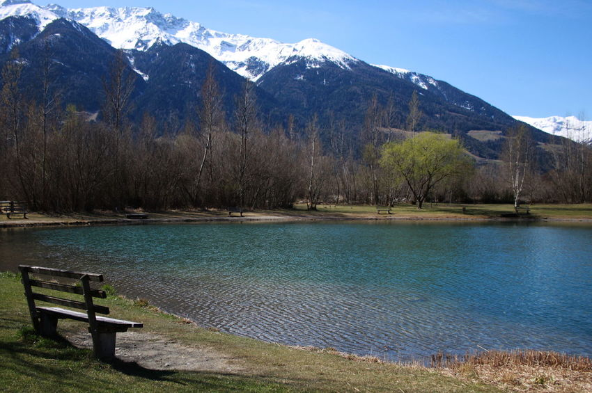 Südtirol April 2015 Beauty In Nature Day Grass Idyllic Italy Lake Landscape Mountain Mountain Range Nature No People Outdoors Scenics Sky Snow Tree Vinschgauer Oberland
