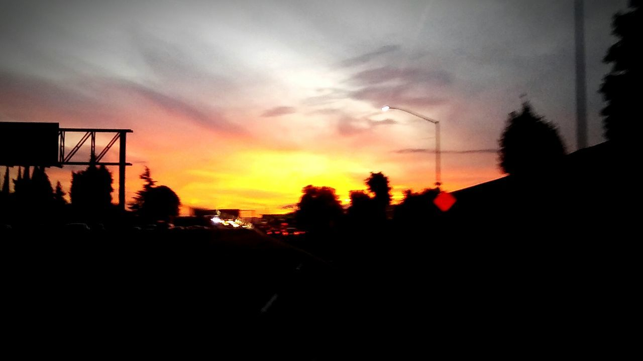 Car Transportation Road Tree No People Night Illuminated Outdoors Nature Sky Sillouettes Beautiful Clouds & Sky <3 Cloud - Sky Sunsets Golden Sky