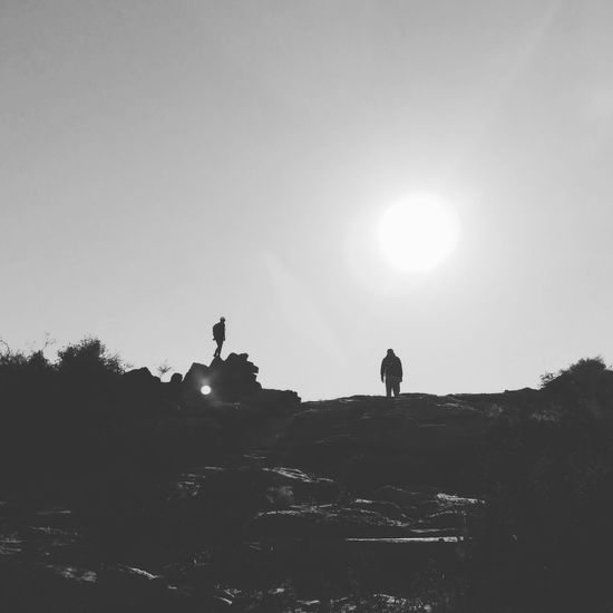 My Year My View c Silhouette Two People Outdoors Sky Landscape Friendship Nature Beauty In Nature Tranquility Non-urban Scene Eyeeybestshots EyeEm EyeEm Nature Lover Nature light and reflection Grey The Week On EyeEm Black And White Friday EyeEmNewHere