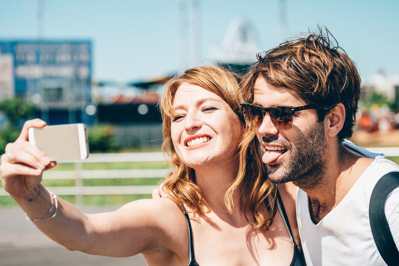 it's selfie time and you know it Happiness Man Selfie portrait smartphone Sunlight Woman yeah!