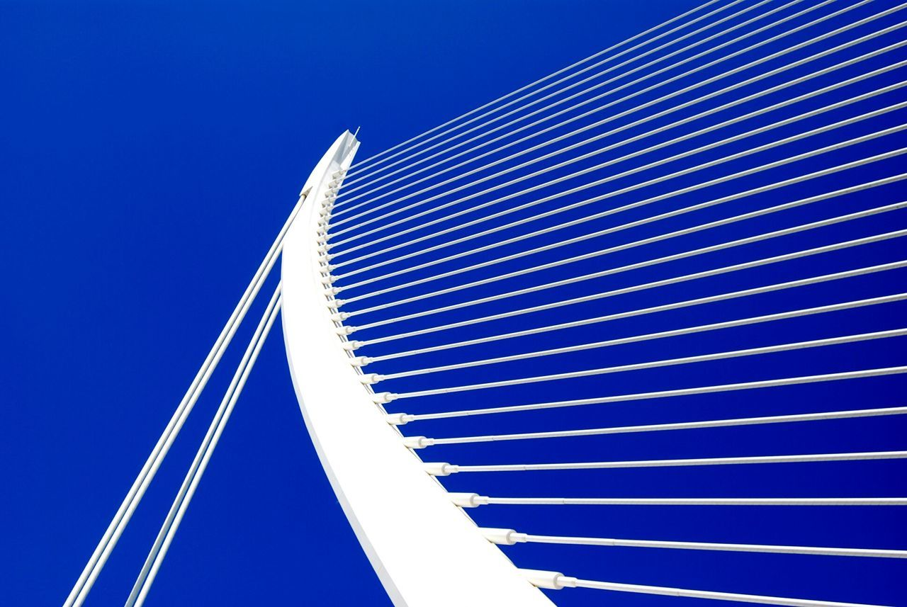 Blue Low Angle View Futuristic Clear Sky No People Bridge - Man Made Structure Modern EyeEm Best Shots Nikon D7100 From My Point Of View EyeEmBestPics EyeEm Gallery Ciudad De Las Artes Y Las Ciencias Valencia, Spain Calatrava Architecture Minimalist Architecture