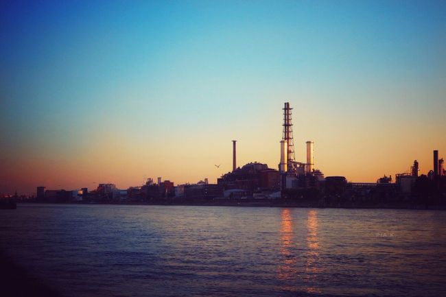 Is the sun gold.? Waterfront Water Industry Factory Built Structure Sunset Clear Sky Architecture Sea Blue Building Exterior River Sunshine Ludwigshafen Mannheim Germany Summer Sun Skyline Sunlight Clear Sky Sundown Sonnenuntergang Industry