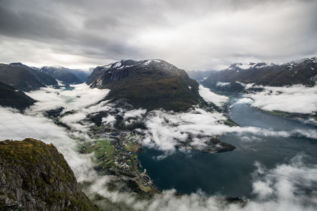 View from Skylift in Loen Wide Angle Beauty In Nature Norway View From Above View Loen Skylift Loen Skylift Hiking Landscape Nature Fjord Water Mountain Mountain Range Scenics Beauty In Nature Clouds And Sky