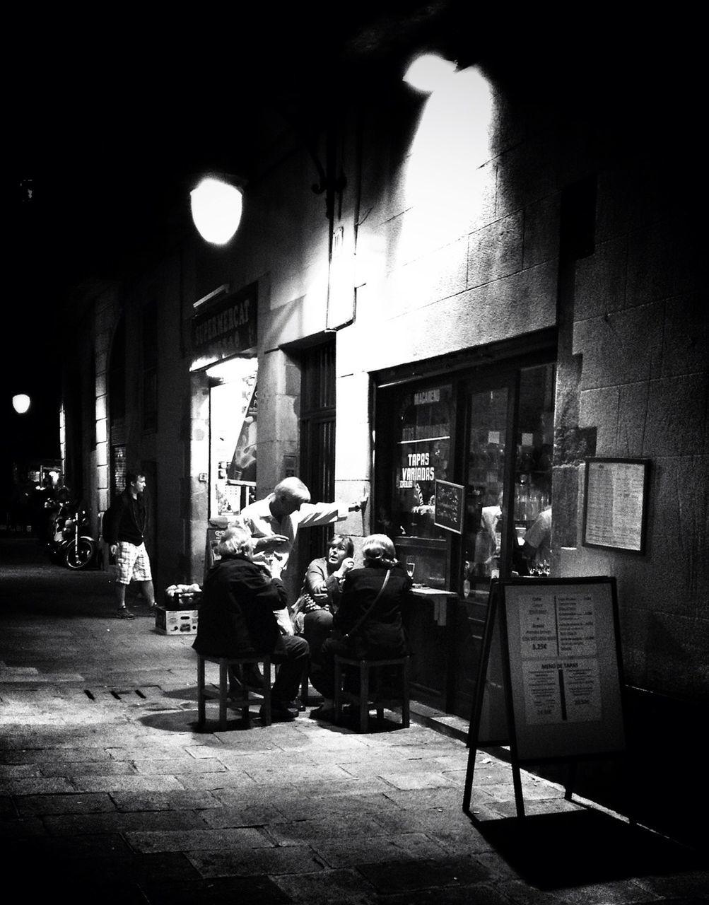 People at sidewalk cafe