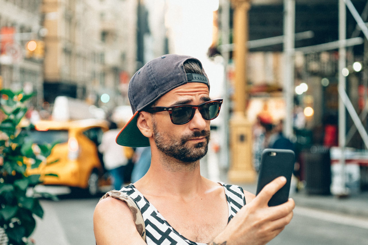 :))) portrait selfie smart phone sunglasses young adult