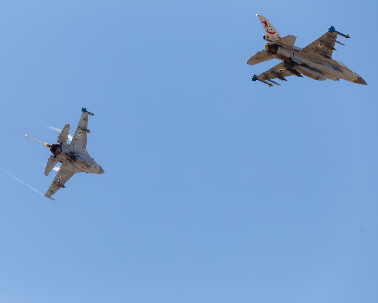 Air Vehicle Airplane Aviation Blue Blue Sky Clear Sky Day F-16 Fighting Falcon Flight Flying General Dynamics IAF Israeli Air Force Mid-air Military Sky