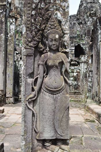 Warm welcome Apsara Dance Female Figure Apsara Ancient History Stone Carving Bayon Temple Angkor Wat, Cambodia Sculpture Statue Stone Material Built Structure History Building Exterior Architecture Travel Destinations No People Close-up Ancient Civilization Outdoors Day
