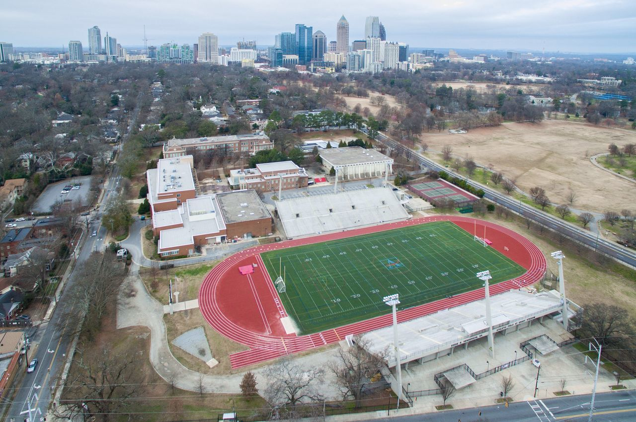 Grady High and Atlanta Skyline. Aerial Aerial Photography Dji DJI Phantom 3 Professional Phoenix Aerials USA Cityscape Atlanta Atlanta Ga Atlanta Georgia Grady High School