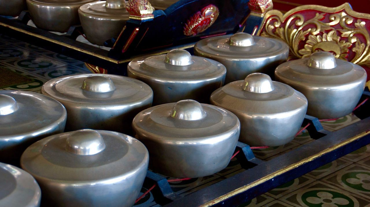 Gamelan Gamelan Music Large Group Of Objects Plate High Angle View Indoors  Music Instrument Music Traditional Culture Indonesia Culture