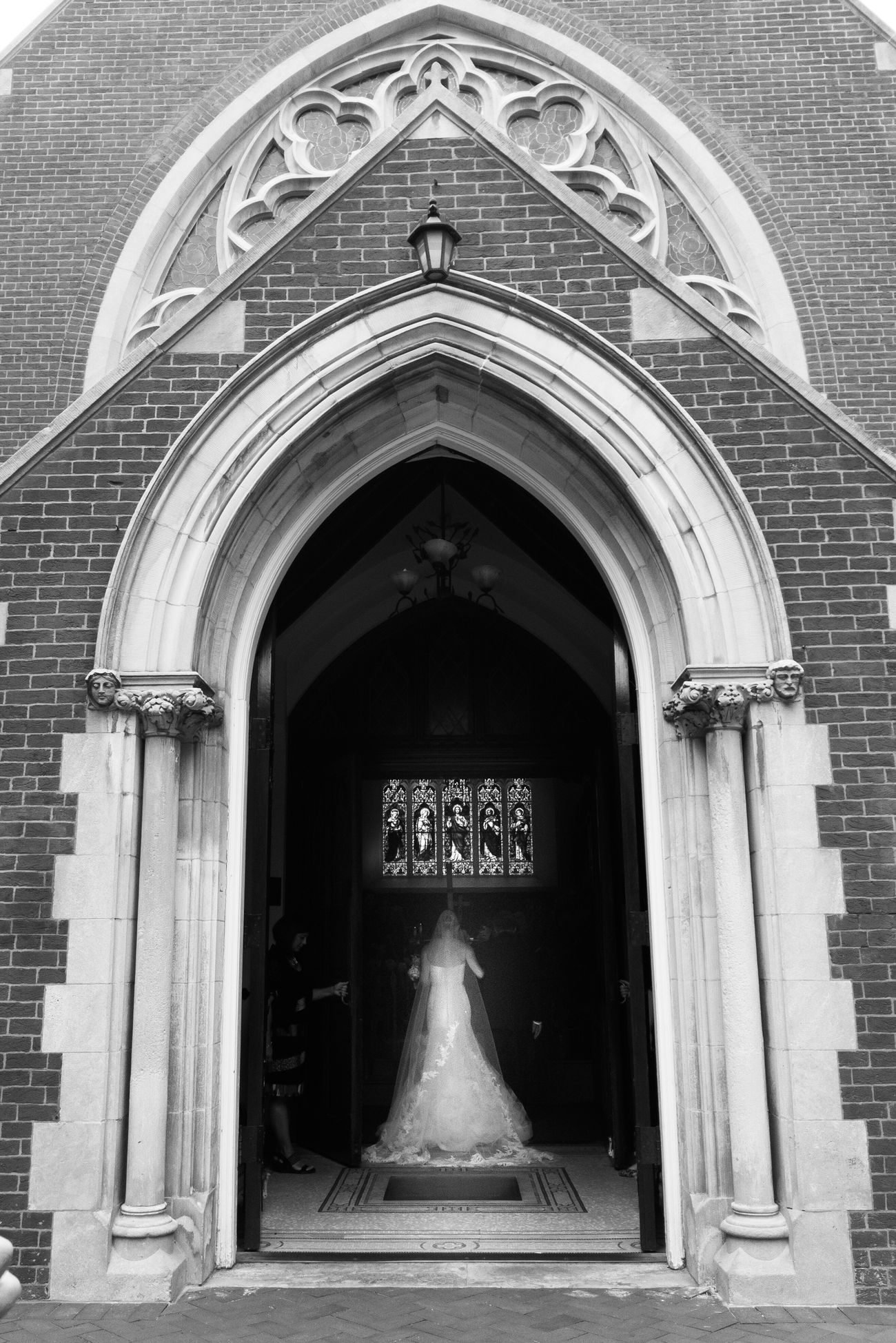 Architecture Arch Building Exterior Door Entrance Façade Steps Outdoors Entryway Place Of Worship Arched Bride Wedding Black & White Wedding Photography Wedding Day Wedding Dress Blackandwhite Photography Church Chapel Catholic Catholic Church Brick Brick Wall
