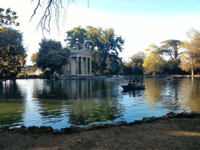 Rome Italy🇮🇹 Outdoors Pond Villa Borghese Gardens Temple Statue Aesculapius Trees Boat People