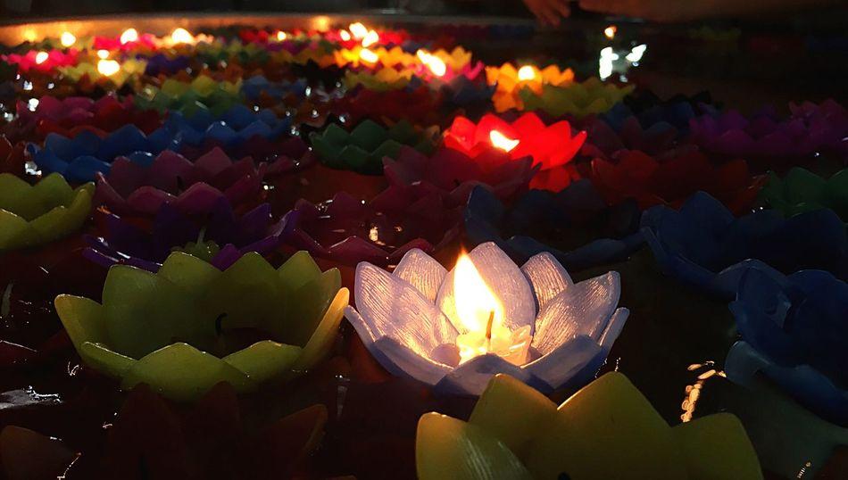 Religious Ceremony Night Fire - Natural Phenomenon Candle Flame Burning Illuminated Glowing Heat - Temperature No People Oil Lamp Indoors  Close-up Diya - Oil Lamp Tradition Market Babgkok Bangkok City Life EyeEm Gallery