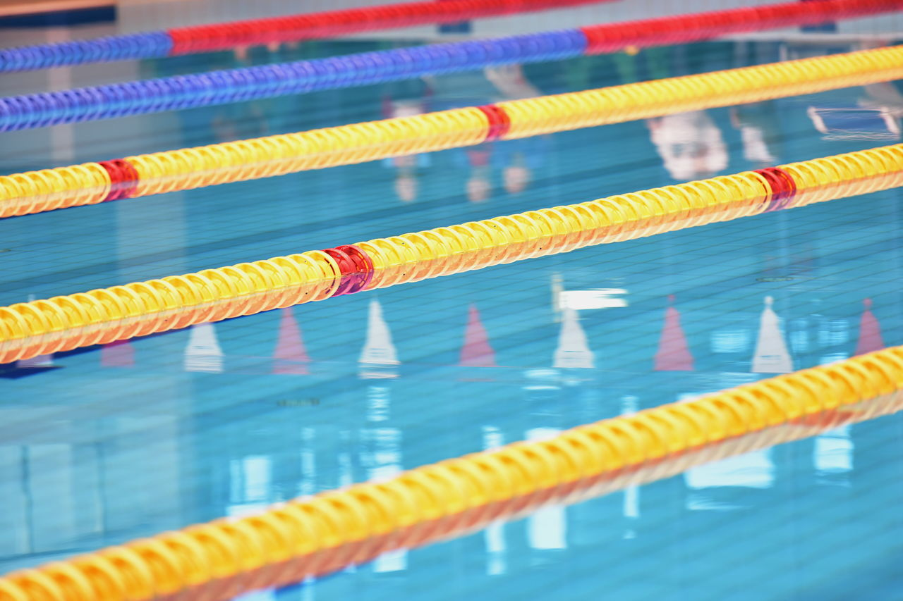 Close-up Competitive Sport Day Dividing In A Row No People Swimming Lane Marker Swimming Pool