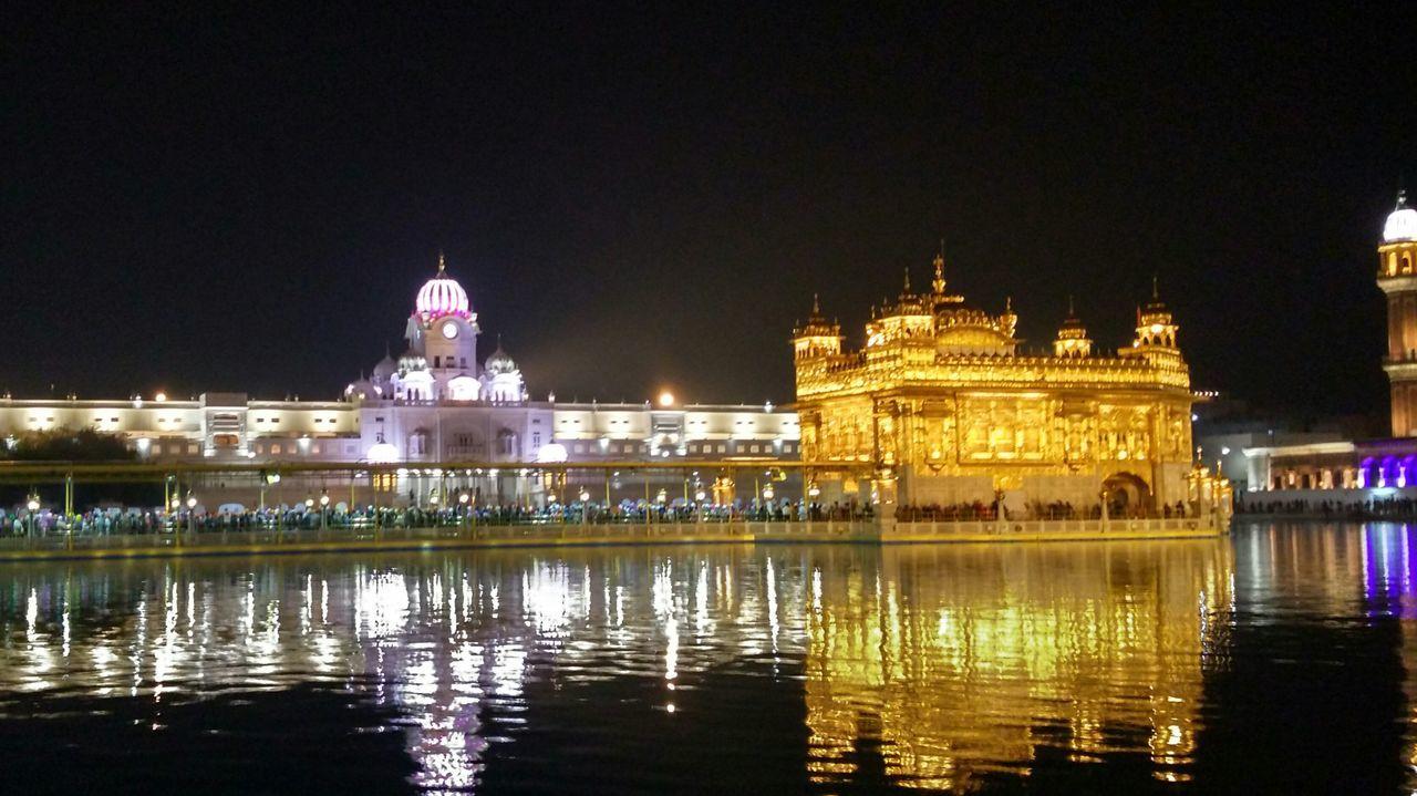 Golden Temple Architecture Illuminated Travel Destinations Reflection