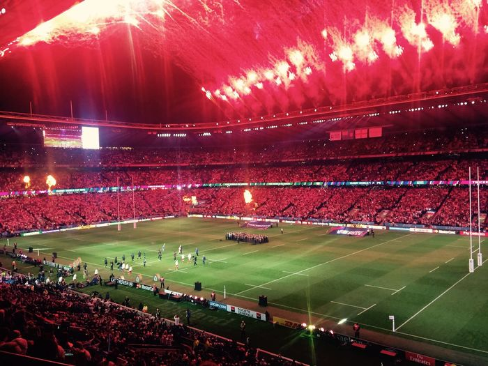 England and Fiji taking the field for the opening game of the Rugby World Cup 2015! Rugbyworldcup2015