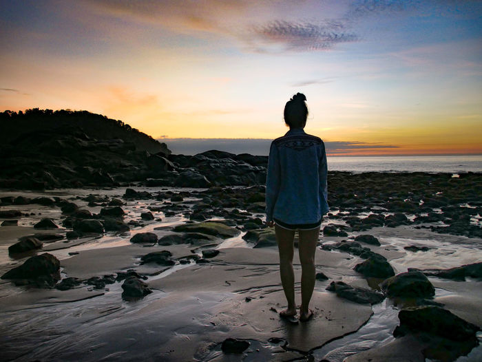 Girl Girls Island Nature Nature_collection One Person Rear View Rearview Sea Sea And Sky Seascape Sky Sky And Clouds Skyporn Sunrise Sunrise_sunsets_aroundworld Sunset Sunset_collection Water Water Reflections Waterdrops