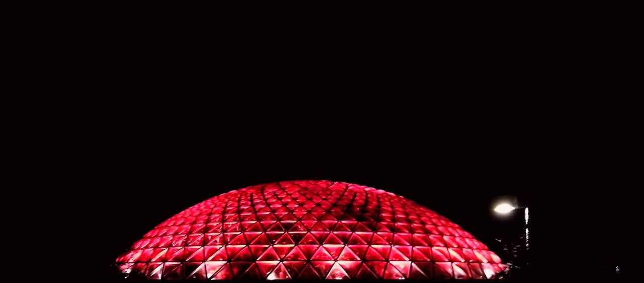Night Illuminated Red Low Angle View No People Black Background Outdoors City Sky Huawei P9 Leica Travel Destinations Architecture Roof Construction Abstract Textured  Backgrounds Observatory Light Light In The Darkness