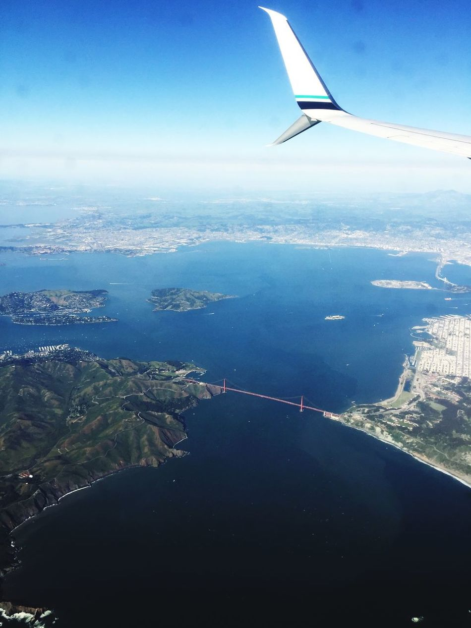 The Golden Gate Bridge !! Airplane Mountain Aerial View Landscape Transportation Flying Airplane Wing No People Day Nature Air Vehicle Journey Mid-air Sky Aircraft Wing Tranquility Outdoors Scenics Mountain Range Water