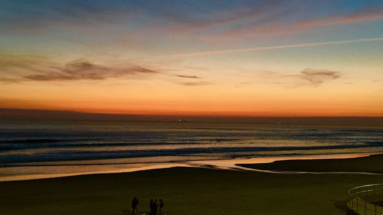 Sea Beach Sunset Horizon Over Water Sand Scenics Sky Beauty In Nature Water Nature Tranquility Cloud - Sky Outdoors One Person People Atlantic Ocean Landscape Carcavelos Beauty In Nature Sunset_collection Enjoying The View Colourful