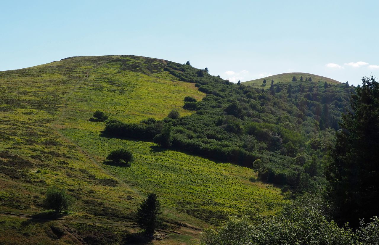 Scenic View Of Green Hills Against Sky