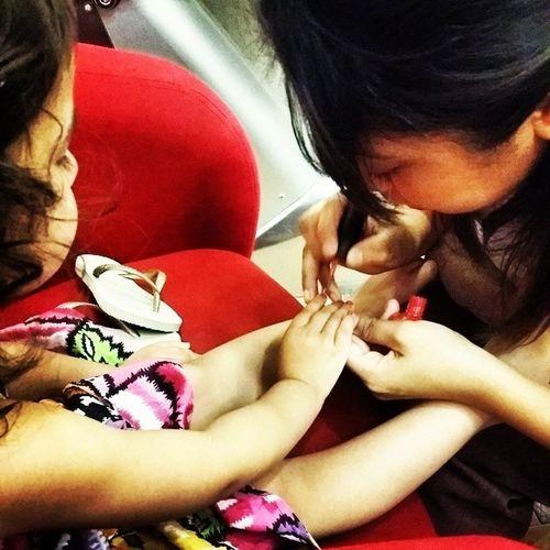 Kaya getting her nails did Littlelady Weddingtime