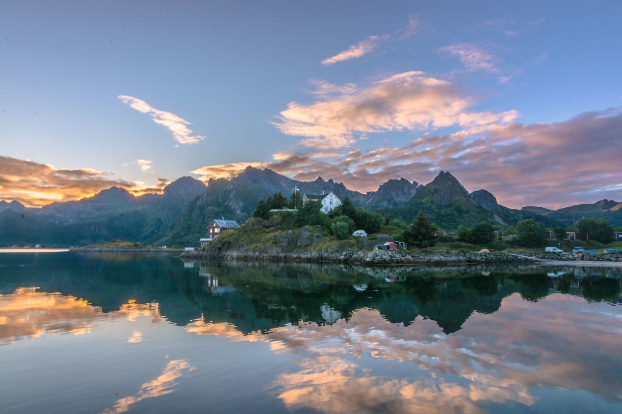 Reflection Mountain Water Lake Scenics Sky Nature Beauty In Nature Tranquility Mountain Range Tranquil Scene Outdoors Travel Destinations Waterfront No People Cloud - Sky Day Architecture Tree Kabelvåg Lofoten Seashore Lofoten Islands Norway Sunset