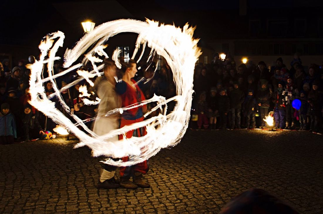 Fireworks Fire Firedance Firedancer Two Firedancers Drawing Circles Circles Firework Women Woman Art Artist Night Darkness Red Yellow Orange Street Art Street Artist Dance Dancer Two Dancers City Potsdam