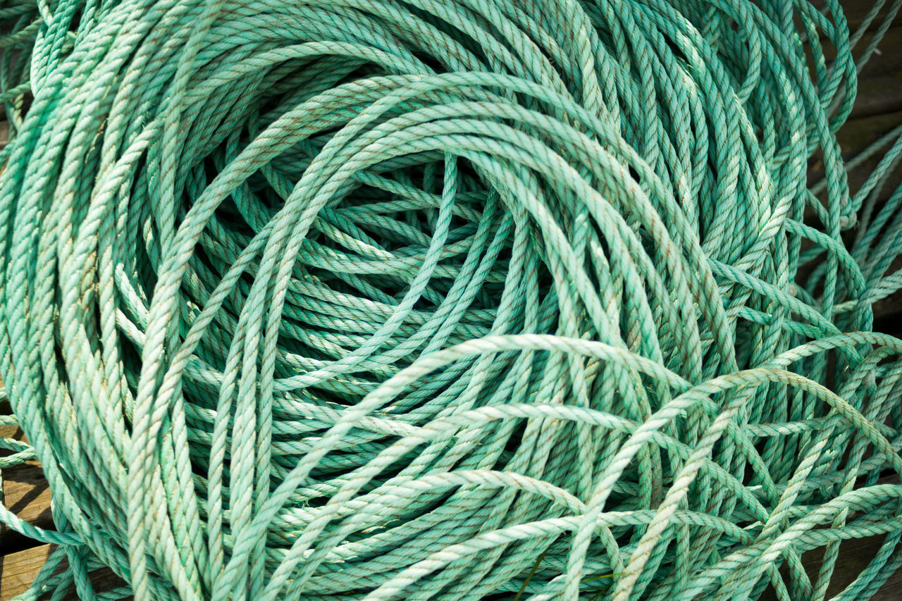 rope Close-up Day Fishing Rope Green Color Lines No People Outdoors Rope Rope Coil Thick