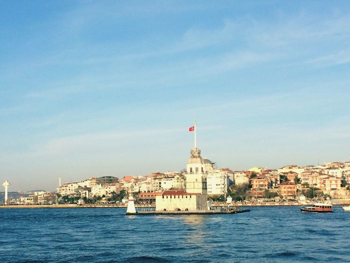 Girltower View From The Sea Bus Bosphorus Relaxing Moments Architecture Building Exterior Built Structure Sky Patriotism Day No People Water Sea Outdoors Nautical Vessel Cloud - Sky Nature City