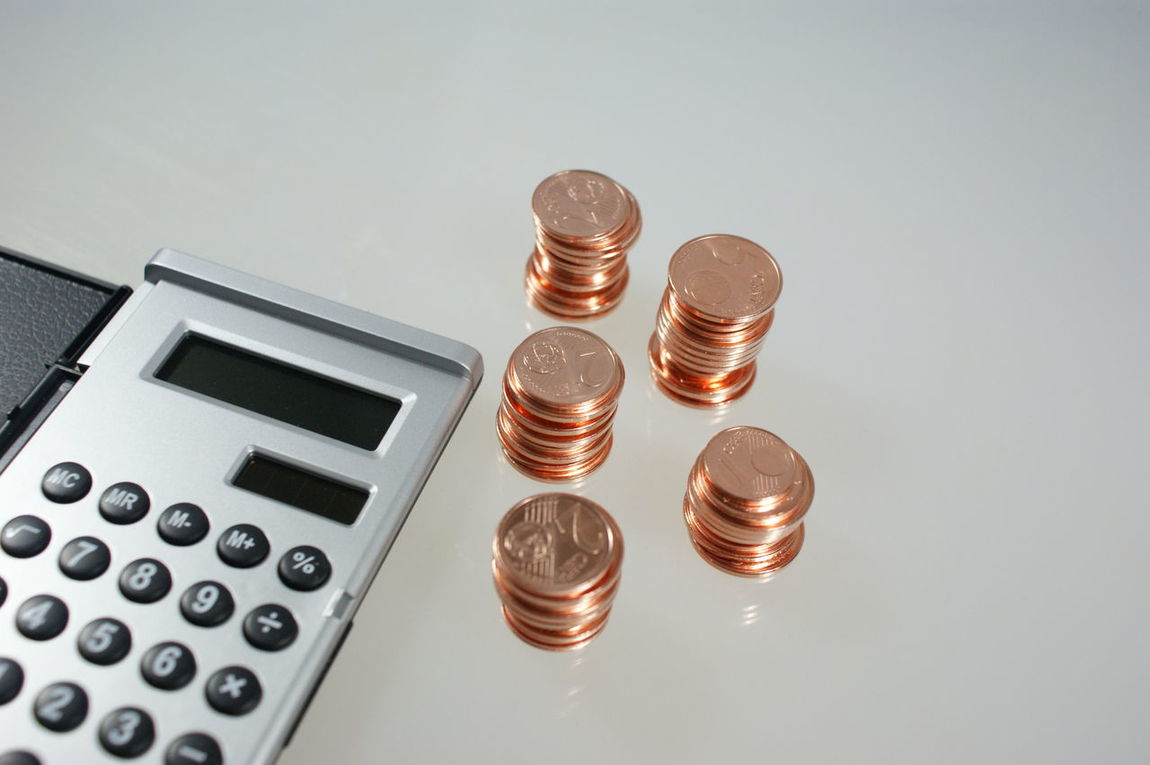 Bargeld Calculator Cash Coins Copper  Finance Finanzen Geld Kupfer Money Münzen Pocket Calculator Save Sparen Taschenrechner