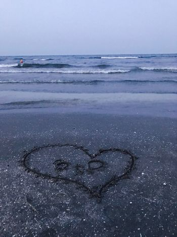 Heart Shape Love Text Message Beach Sea Nature Beauty In Nature Horizon Over Water Outdoors Communication Scenics Sky Water No People Sand Day