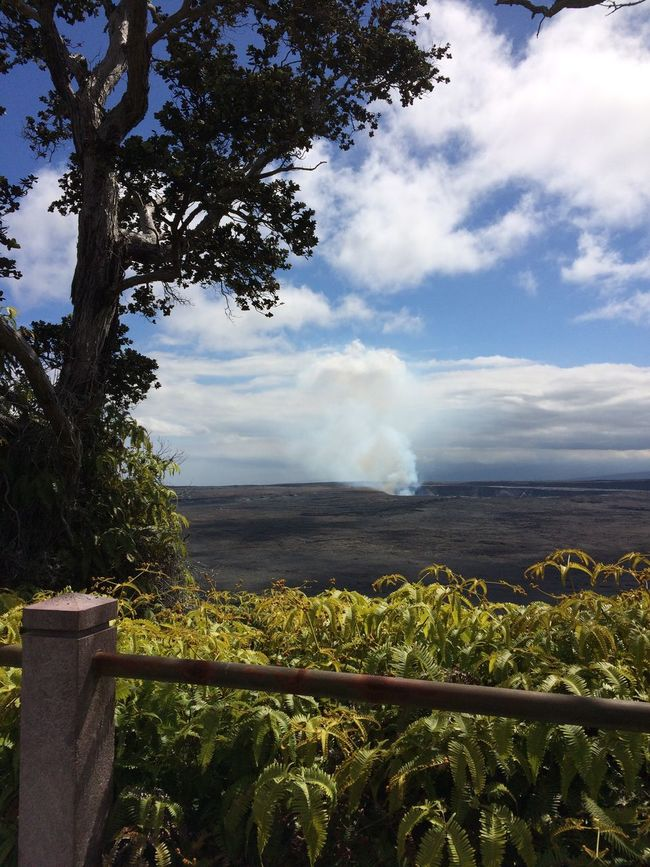 At the overlook, plume in the distance Nature Nature Photography Volcano Crater Volcanic Landscape Volcano National Park Natural Light Naturephotography NoEditNoFilter Wonders Of Nature Hiking Walking Around Enjoying Life Enjoying The View Hawaii Life Big Island