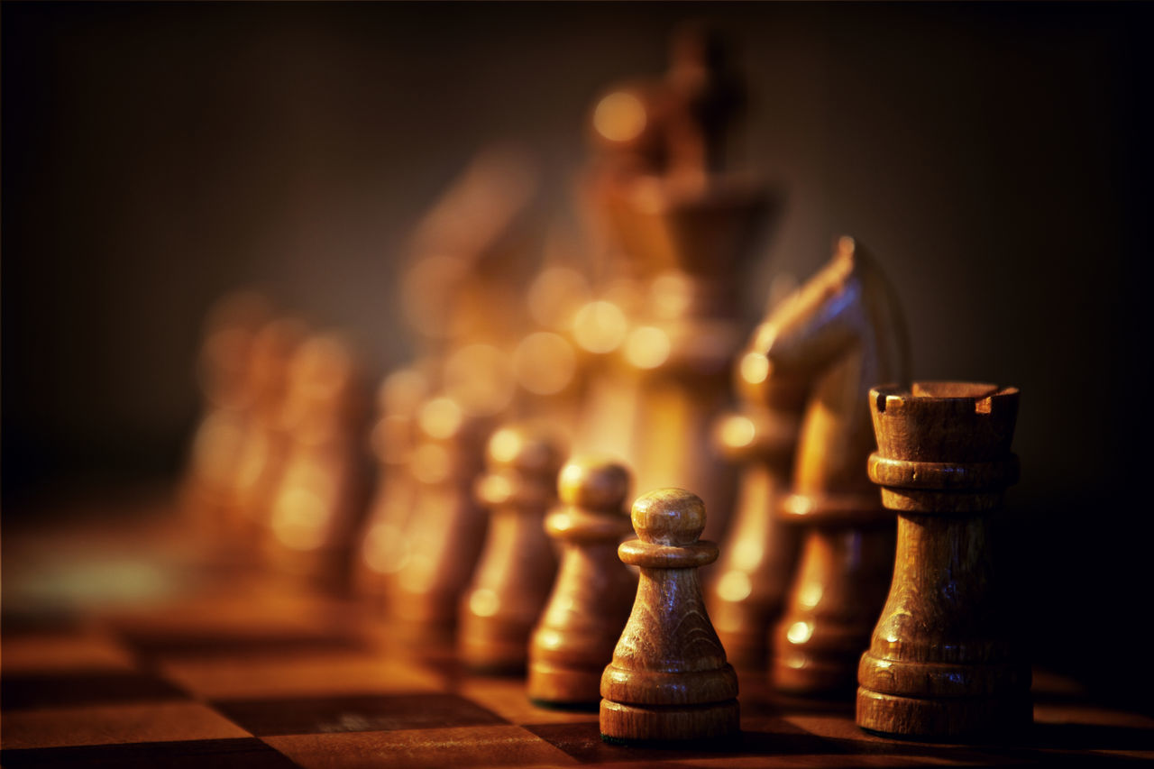 Game of chess with wooden figures Chess Chess Board Chess Piece Game Of Kings King - Chess Piece Knight - Chess Piece Leisure Games Pawn - Chess Piece Queen - Chess Piece Shallow Depth Of Field Shallow DOF Strategy Strategy Game Tactical Tactics