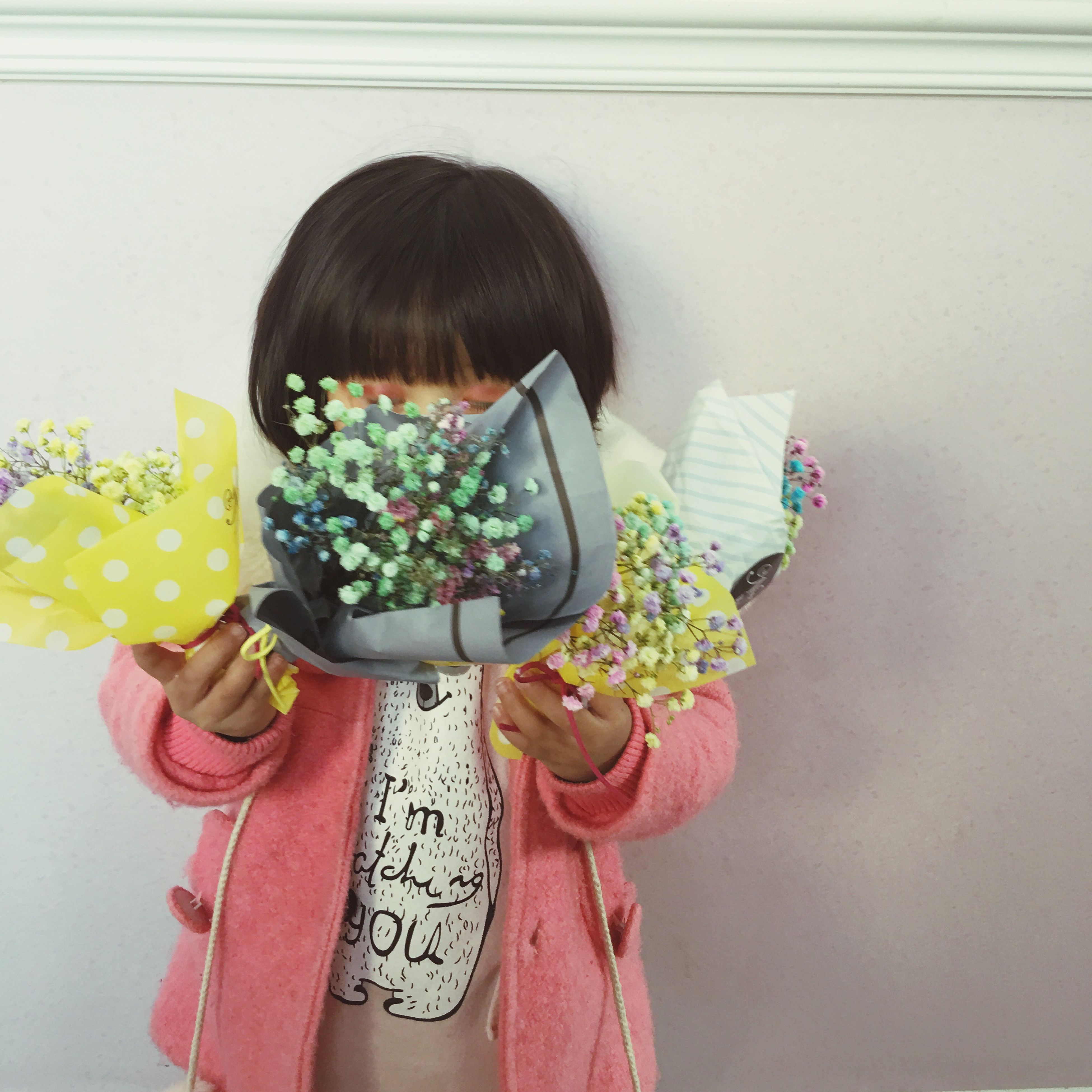 child, multi colored, children only, studio shot, one girl only, girls, childhood, flower, one person, indoors, people, day