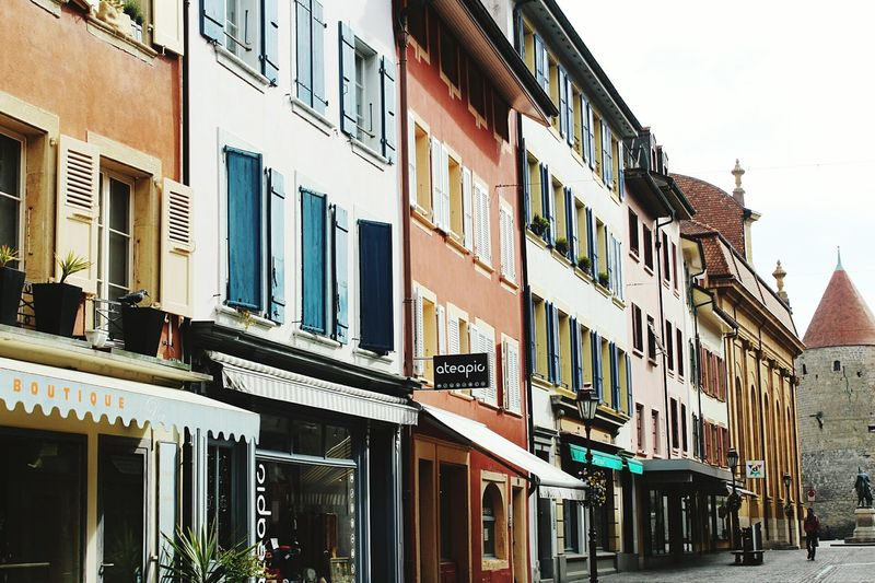 Building Exterior Architecture Window In A Row City Outdoors Multi Colored Balcony No People Day Yverdon-les-Bains Switzlerland Building Adventure Switzerland City Sky