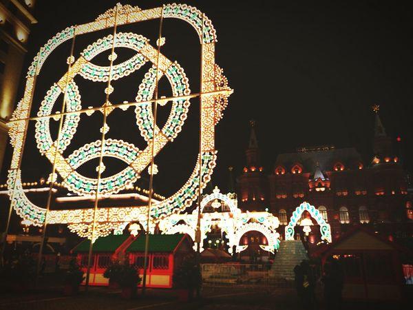 Moskow Night Celebration Christmas Christmas Lights Illuminated Christmas Decoration Outdoors Christmas Market People Sky Architecture