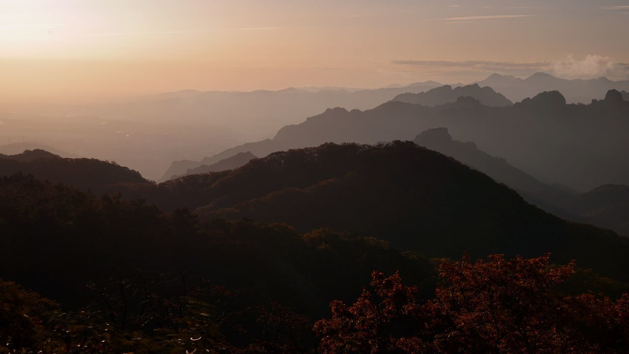 My Year My View Nature Beauty In Nature Mountain Mountain Range Scenics Tranquility Sunset Outdoors Tranquil Scene Tree Sky Landscape No People Day Sunrise Change Travel Destinations Plant Sunlight EyeEm Nature Lover Autumn Mt.myougisan