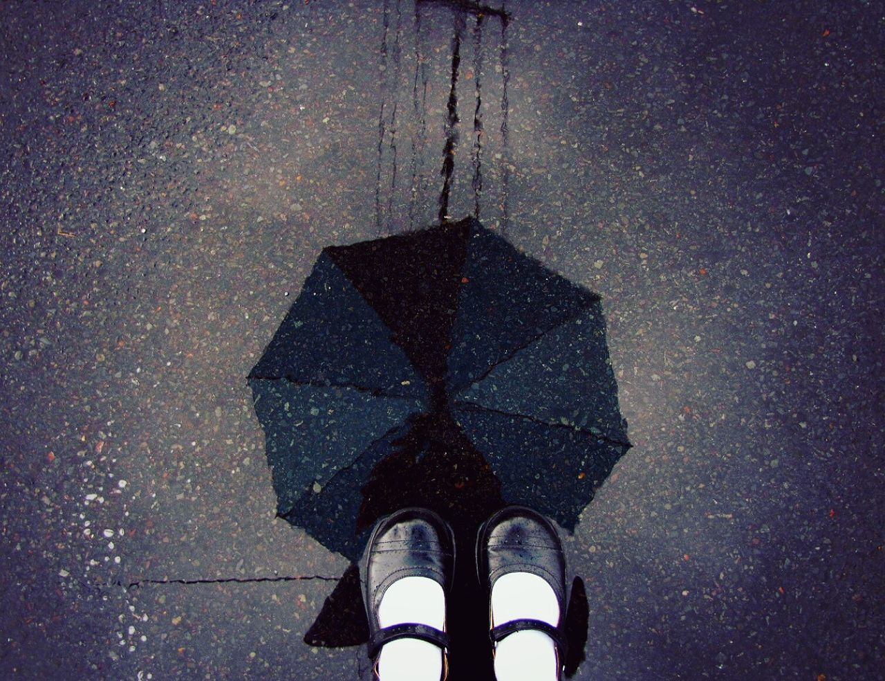 Throwback to a rainy stroll in the 808 state. Personal Perspective Puddle Asphalt Reflection Standing Rain Autumn EyeEm Best Shots Getting Inspired TakeoverContrast ]