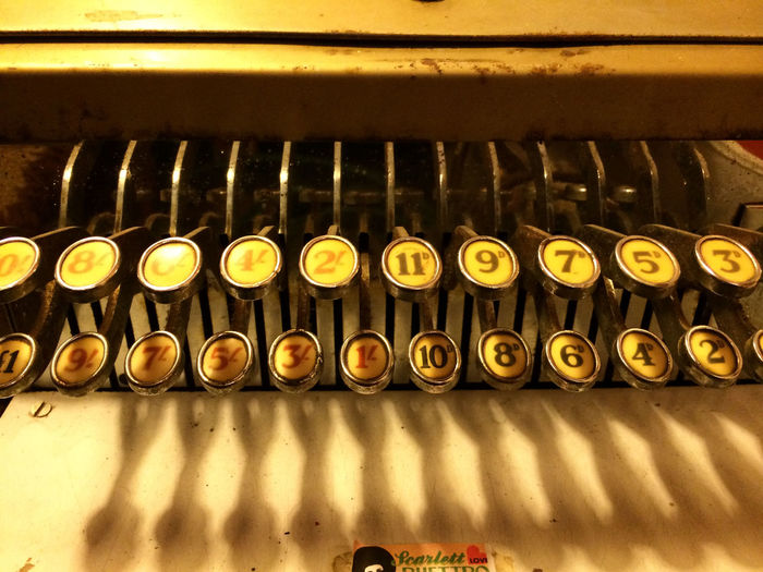 Adding Machine Antique Calculator Group Of Objects In A Row Numbers Office Equipment Vintage