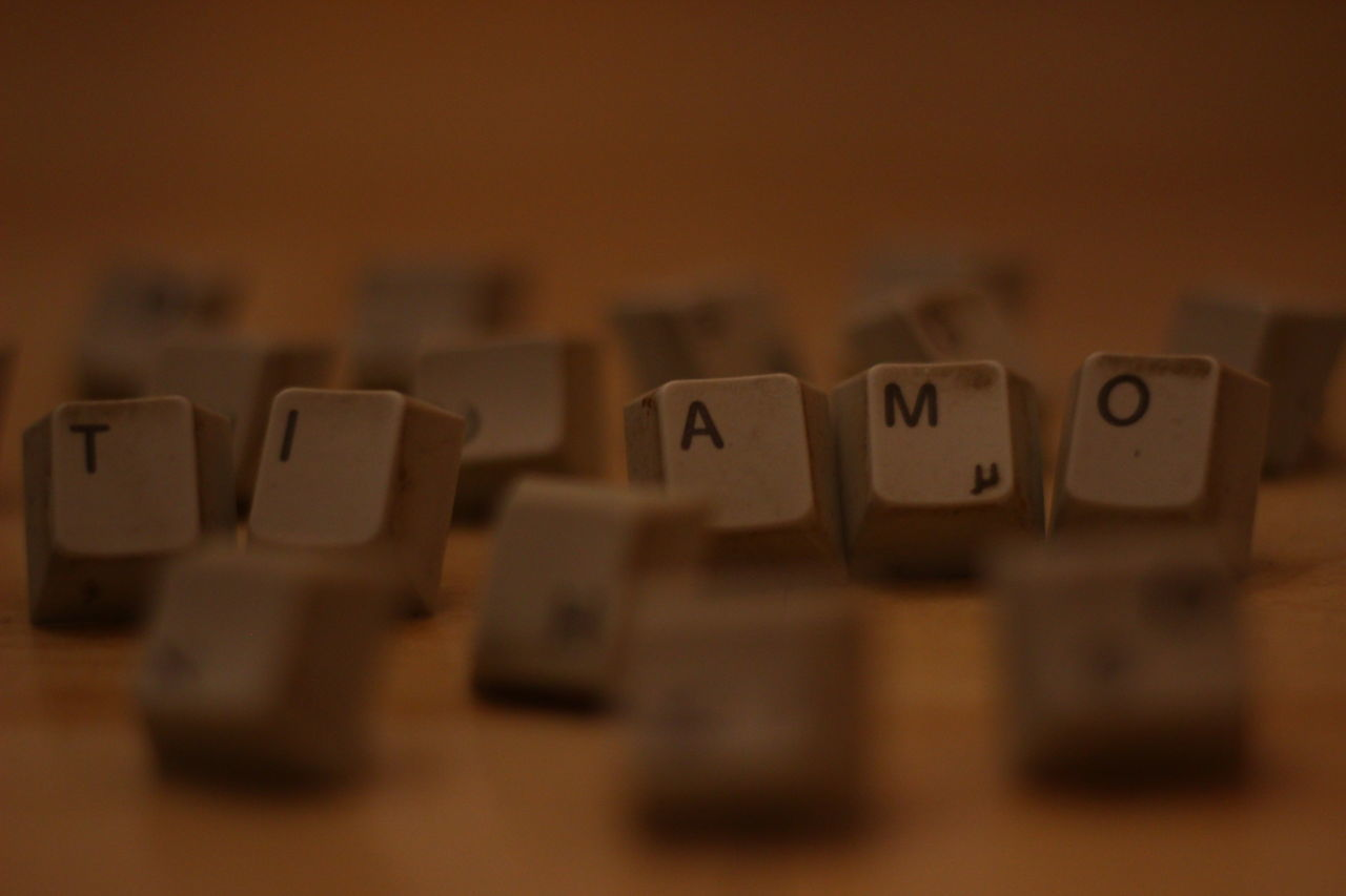 "How do you spell ""I love you"" if have only one of every letter? ;)Close-up Communication Keyboard Love No People Ti Amo Words"