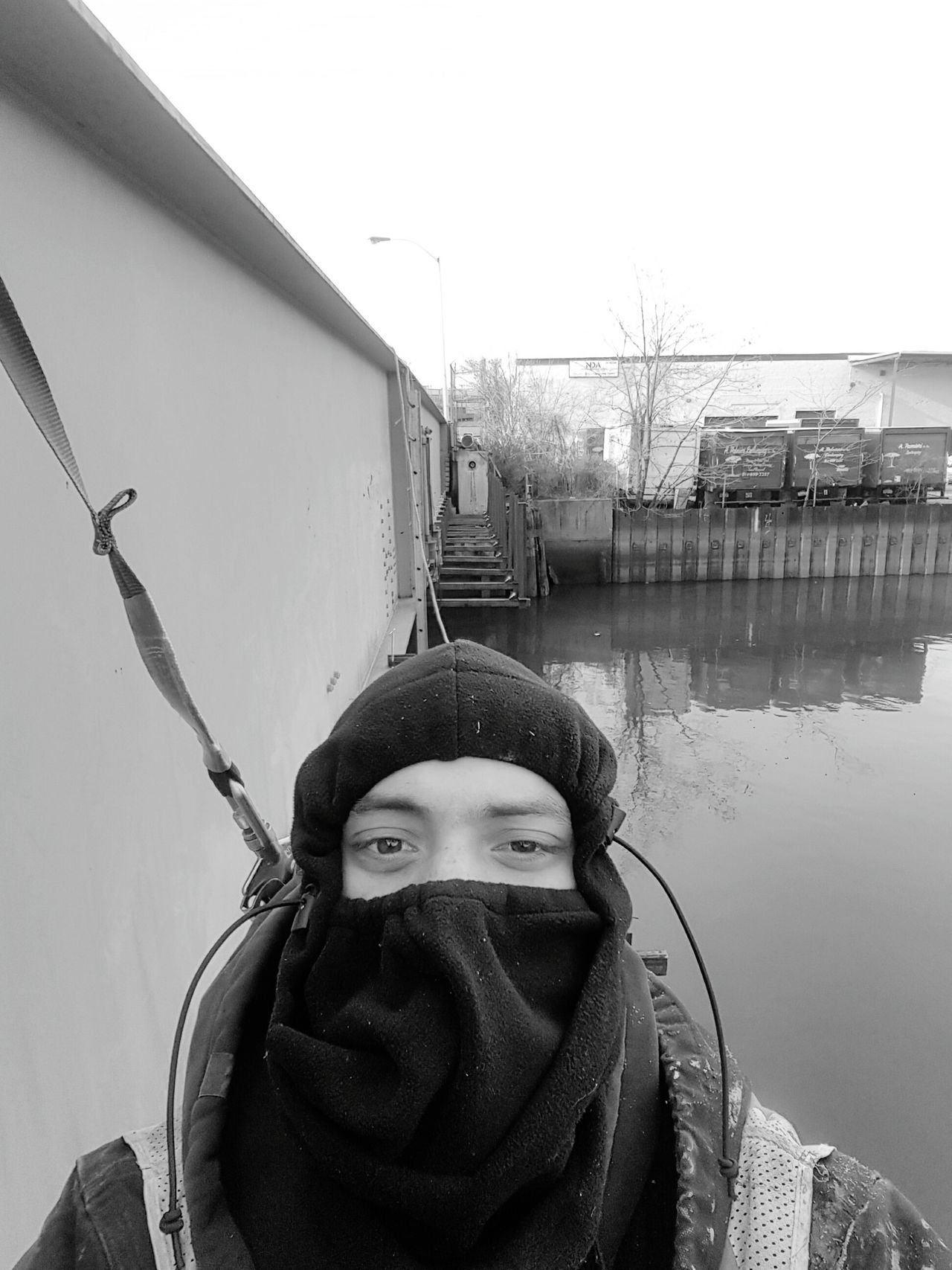 At Work One Person Warm Clothing Winter Knit Hat One Man Only Water Adult Outdoors Self Potrait Blackandwhite Blackandwhite Photography