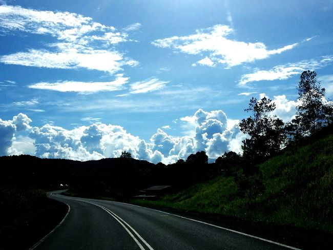 Blue Sky And Clouds White Clouds Hillside Green Grass Road The Way Forward Cloud - Sky No People Landscape Sky Outdoors Tree Day Scenics Nature Mountain Beauty In Nature