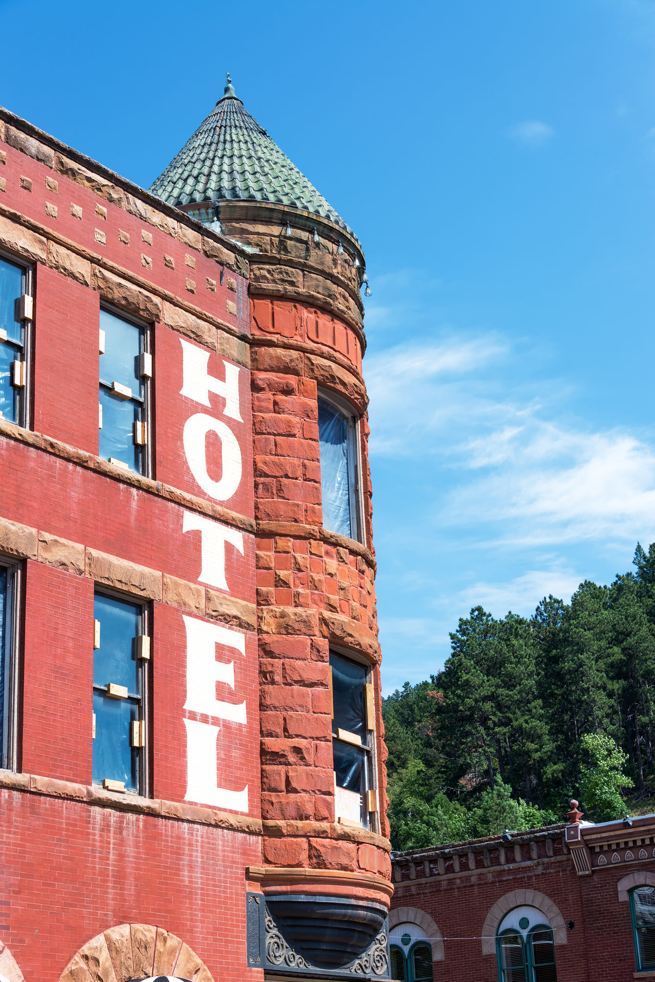 View of historic hotel in the old west town of Deadwood, South Dakota Architecture Architecture Bar Black Hills Brick Building Exterior Casino Deadwood  Downtown Historic Hotel No People Old West  Restaurant Sky South Dakota Tavern  Tourism Tourists Town Travel Travel Destinations USA Western Wild West