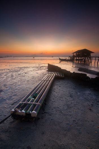Sunrise at Jelutong Fisherman Viilage Beach Beauty In Nature Coastline Day Horizon Over Water Jelutong Jelutongtower Long Exposure Nature No People Outdoors Pulau Pinang Scenics Sea Sky Slow Shutter Sun Sunset Tranquility Water